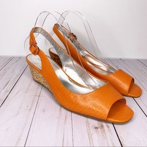 BANANA REPUBLIC Orange Snake Leather Peep Toe Pump